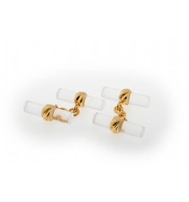 Rock Crystal Double Cylindrical Deluxe Cufflinks-Gold Plated