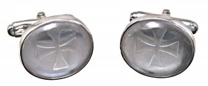 Rock Crystal Sub Engraved Cufflinks